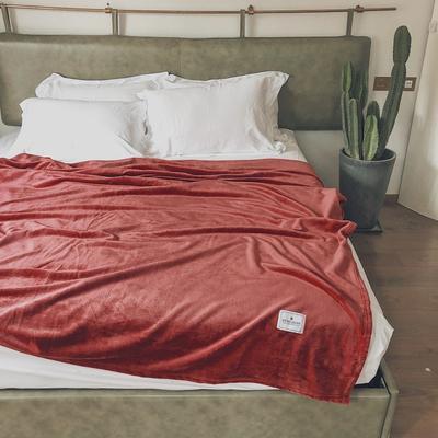 ?#22902;?#21320;睡薄毛毯被子盖毯纯色空调毯单人午休毯子办公室北欧沙发毯 120*200cm 莫兰迪红