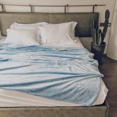 ?#22902;?#21320;睡薄毛毯被子盖毯纯色空调毯单人午休毯子办公室北欧沙发毯 120*200cm 水蓝色