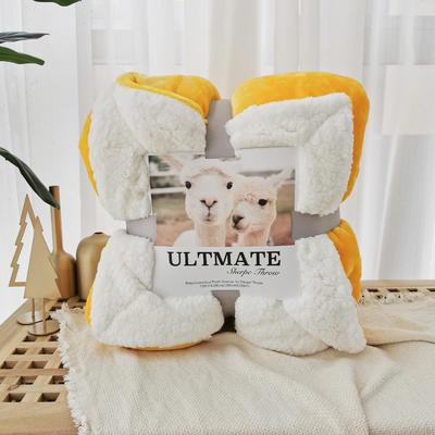 爆款ULTMATE羊羔绒毛毯 高克重法兰绒拼羊羔绒 质量始终不变 热销百万条 150*200cm 奥斯丁黄