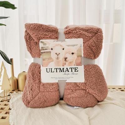 马卡龙双层羊羔绒毛毯加厚单双人盖毯珊瑚绒毯子 200*230cm 巴旦木咖