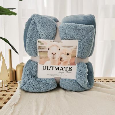 马卡龙双层羊羔绒毛毯加厚单双人盖毯珊瑚绒毯子 150*200cm 孔雀蓝