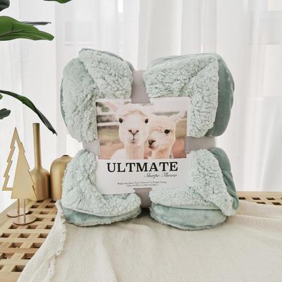 马卡龙双层羊羔绒毛毯加厚单双人盖毯珊瑚绒毯子 200*230cm 抹茶绿