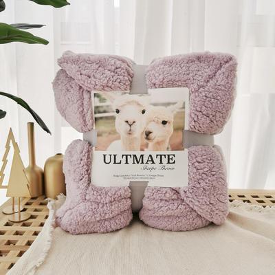 马卡龙双层羊羔绒毛毯加厚单双人盖毯珊瑚绒毯子 150*200cm 藕色