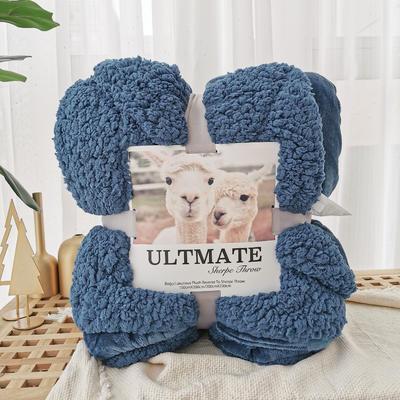 马卡龙双层羊羔绒毛毯加厚单双人盖毯珊瑚绒毯子 150*200cm 午夜蓝