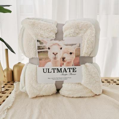 马卡龙双层羊羔绒毛毯加厚单双人盖毯珊瑚绒毯子 150*200cm 亚瑟白