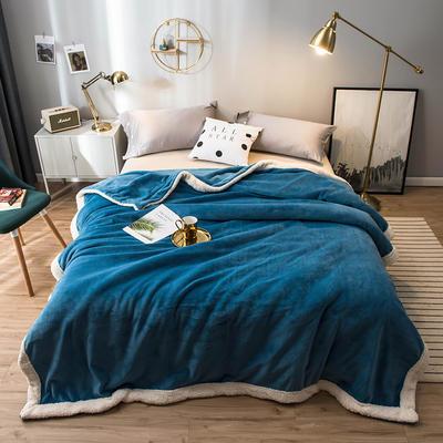 北欧单层加厚保暖法兰绒羊羔绒包边毛毯午睡休闲毯子多功能纯色盖毯 120*200cm 巴洛克蓝