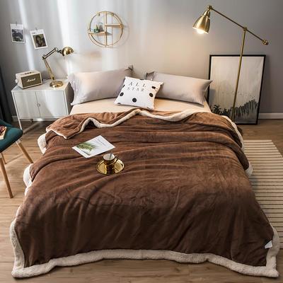 北欧单层加厚保暖法兰绒羊羔绒包边毛毯午睡休闲毯子多功能纯色盖毯 150*200cm 朗姆尼咖