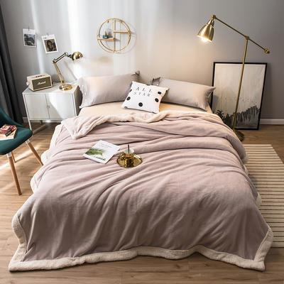 北欧单层加厚保暖法兰绒羊羔绒包边毛毯午睡休闲毯子多功能纯色盖毯 150*200cm 马洛灰