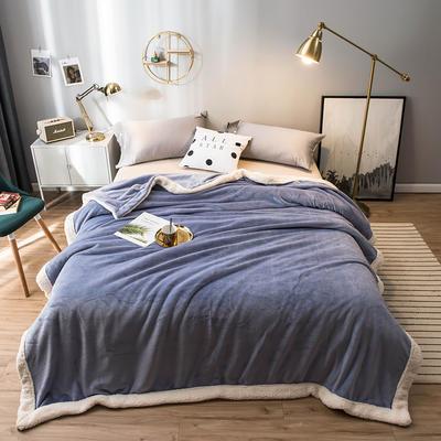 北欧单层加厚保暖法兰绒羊羔绒包边毛毯午睡休闲毯子多功能纯色盖毯 120*200cm 浅草紫