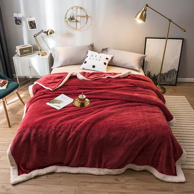 北欧单层加厚保暖法兰绒羊羔绒包边毛毯午睡休闲毯子多功能纯色盖毯 150*200cm 浅酒红