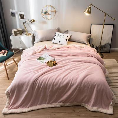 北欧单层加厚保暖法兰绒羊羔绒包边毛毯午睡休闲毯子多功能纯色盖毯 120*200cm 维密粉