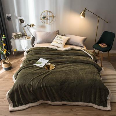 北欧单层加厚保暖法兰绒羊羔绒包边毛毯午睡休闲毯子多功能纯色盖毯 120*200cm 祖母绿