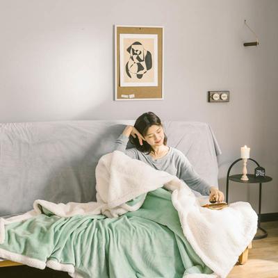 2020升级马卡龙羊羔绒毛毯子加厚保暖双层法兰绒毛毯双人冬季盖毯 150*200cm 抹茶绿被套款