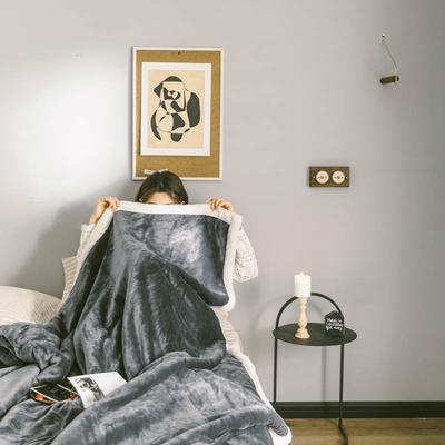 2020升级马卡龙羊羔绒毛毯子加厚保暖双层法兰绒毛毯双人冬季盖毯 150*200cm 深空灰被套款