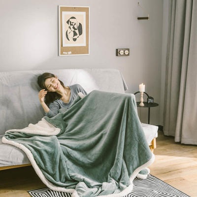 2020升级马卡龙羊羔绒毛毯子加厚保暖双层法兰绒毛毯双人冬季盖毯 150*200cm 烟雾蓝被套款