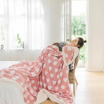 2020新款提花舒棉绒毛毯子多功能毯空调毯双层加厚羊羔绒毛毯 150*200cm 爱心提花-粉色
