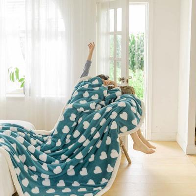 2020新款提花舒棉绒毛毯子多功能毯空调毯双层加厚羊羔绒毛毯 150*200cm 爱心提花-深蓝