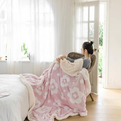 2020新款提花舒棉绒毛毯子多功能毯空调毯双层加厚羊羔绒毛毯 150*200cm 梵克花提花-粉色