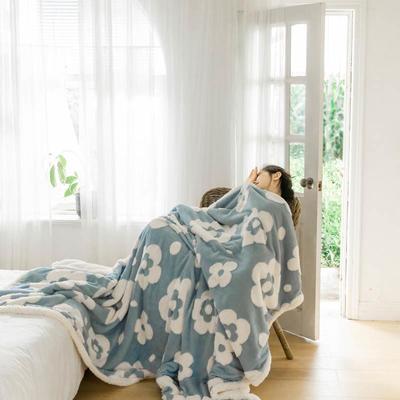 2020新款提花舒棉绒毛毯子多功能毯空调毯双层加厚羊羔绒毛毯 150*200cm 梵克花提花-蓝色