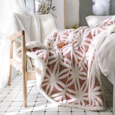 2020新款提花舒棉绒毛毯子多功能毯空调毯双层加厚羊羔绒毛毯 150*200cm 经典提花-暗粉