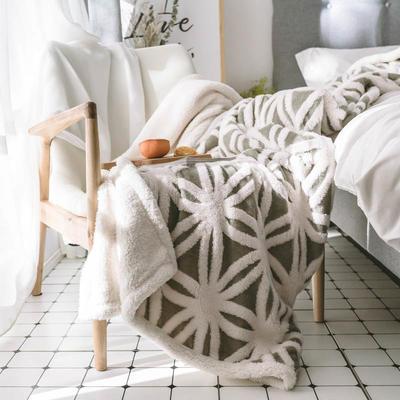 2020新款提花舒棉绒毛毯子多功能毯空调毯双层加厚羊羔绒毛毯 150*200cm 经典提花-灰色