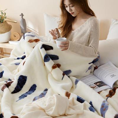 珊瑚绒毛毯被子秋冬双层加厚保暖法兰绒毛毯冬季拉舍尔毯子午睡毯 200*230cm 缤纷羽毛
