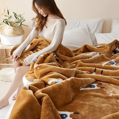 珊瑚绒毛毯被子秋冬双层加厚保暖法兰绒毛毯冬季拉舍尔毯子午睡毯 150*200cm 可爱羊驼