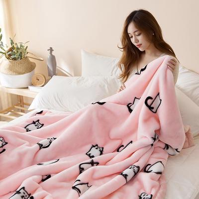 珊瑚绒毛毯被子秋冬双层加厚保暖法兰绒毛毯冬季拉舍尔毯子午睡毯 200*230cm 咪萌