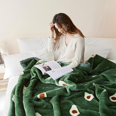 珊瑚绒毛毯被子秋冬双层加厚保暖法兰绒毛毯冬季拉舍尔毯子午睡毯 150*200cm 牛油果