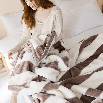 珊瑚绒毛毯被子秋冬双层加厚保暖法兰绒毛毯冬季拉舍尔毯子午睡毯 150*200cm 无印条纹