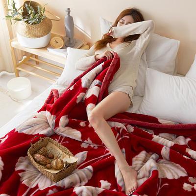 珊瑚绒毛毯被子秋冬双层加厚保暖法兰绒毛毯冬季拉舍尔毯子午睡毯 150*200cm 喜庆花语