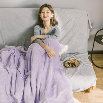 2020升级马卡龙羊羔绒毛毯子加厚保暖双层法兰绒毛毯双人冬季盖毯 150*200cm 安娜紫被套款