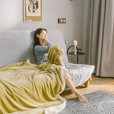 2020升级马卡龙羊羔绒毛毯子加厚保暖双层法兰绒毛毯双人冬季盖毯 150*200cm 宫廷黄被套款