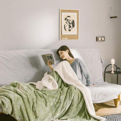 2020升级马卡龙羊羔绒毛毯子加厚保暖双层法兰绒毛毯双人冬季盖毯 150*200cm 木果绿被套款