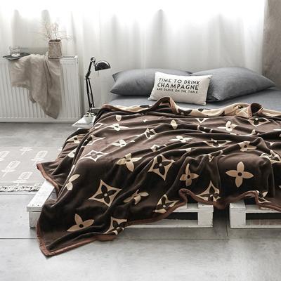 双层加厚高品质复合云毯北欧毛毯法兰绒珊瑚绒毯子秋冬休闲毯 200cmx230cm 经典四叶花