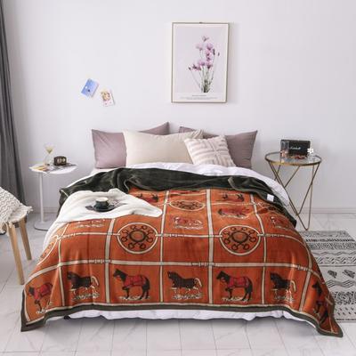 双层加厚高品质复合云毯北欧毛毯法兰绒珊瑚绒毯子秋冬休闲毯 200cmx230cm 骏马