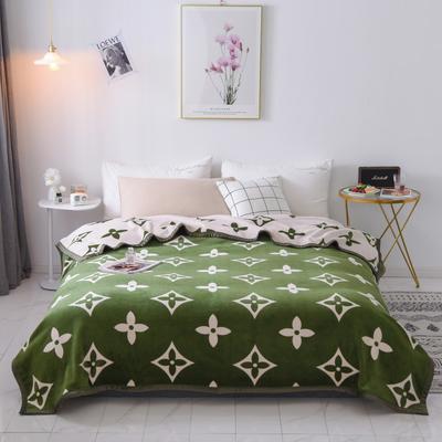 双层加厚高品质复合云毯北欧毛毯法兰绒珊瑚绒毯子秋冬休闲毯 200cmx230cm 路易威-绿