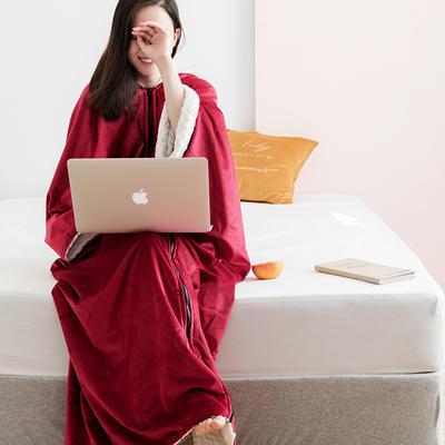2020新款丽丝绒绣花毛毯可做懒人毯披肩披风毛毯单人办公室午睡斗篷毯 145*165cm 卡梅拉红