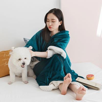 2020新款丽丝绒绣花毛毯可做懒人毯披肩披风毛毯单人办公室午睡斗篷毯 145*165cm 莫兰蒂蓝