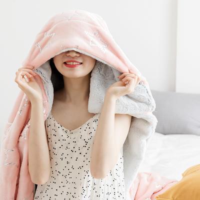 北欧雪兔绒烫金毛毯被子绒毯子加厚双层法兰绒毯 单双人午休沙发盖毯 200*230cm 粉色星星