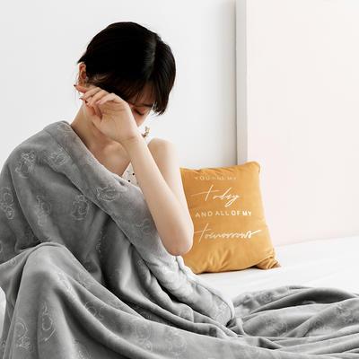 北欧雪兔绒烫金毛毯被子绒毯子加厚双层法兰绒毯 单双人午休沙发盖毯 200*230cm 浅灰大象