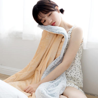 北欧雪兔绒烫金毛毯被子绒毯子加厚双层法兰绒毯 单双人午休沙发盖毯 200*230cm 驼色大象