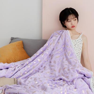 北欧雪兔绒烫金毛毯被子绒毯子加厚双层法兰绒毯 单双人午休沙发盖毯 200*230cm 紫色麦穗