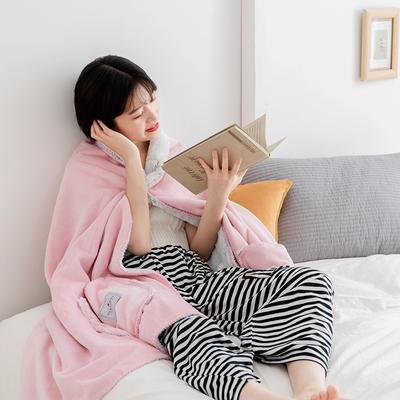 雪兔绒毛毯女生披肩毯秋冬学生家居服毯兔兔绒盖毯单人午睡空调毯 65*160cm 艾芘粉