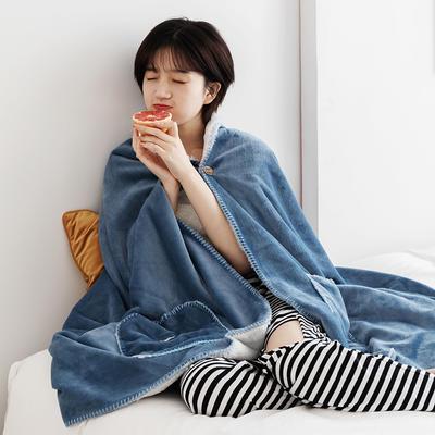 雪兔绒毛毯女生披肩毯秋冬学生家居服毯兔兔绒盖毯单人午睡空调毯 65*160cm 马尾藻蓝