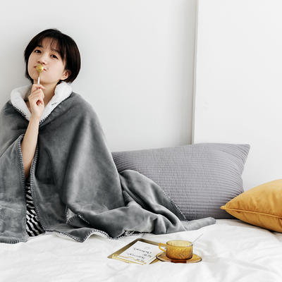 雪兔绒毛毯女生披肩毯秋冬学生家居服毯兔兔绒盖毯单人午睡空调毯 80*200cm 莫拉灰