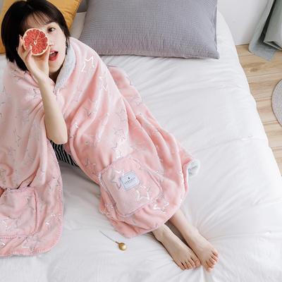 雪兔绒毛毯女生披肩毯秋冬学生家居服毯兔兔绒盖毯单人午睡空调毯 65*160cm 烫银星星-粉