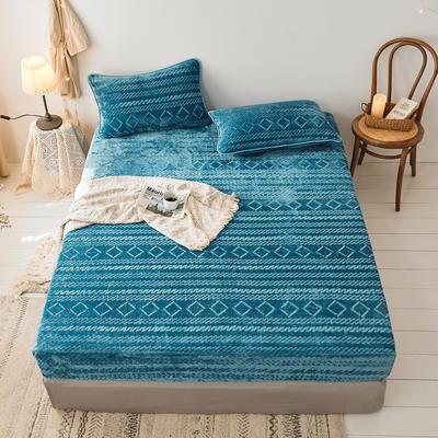 2019新款刷花牛奶绒床笠加厚双面绒单件法兰绒床罩床垫保护套 120cmx200cm(枕套单只) 湖蓝