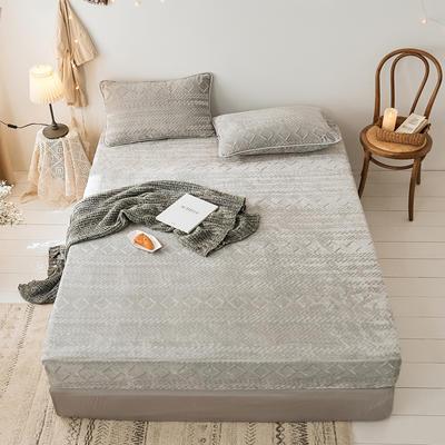 2019新款刷花牛奶绒床笠加厚双面绒单件法兰绒床罩床垫保护套 120cmx200cm(枕套单只) 气质灰