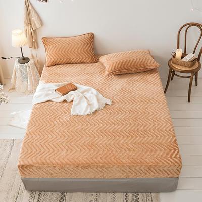 2019新款刷花牛奶绒床笠加厚双面绒单件法兰绒床罩床垫保护套 120cmx200cm(枕套单只) 驼色